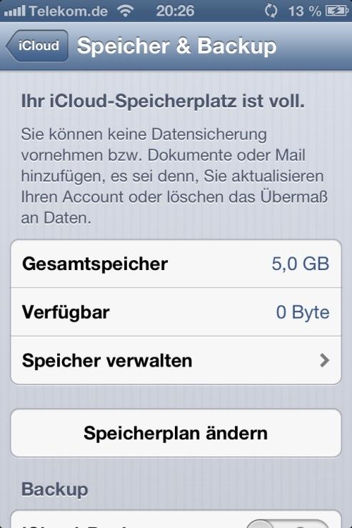 speicher zeigt voll an iphone 6