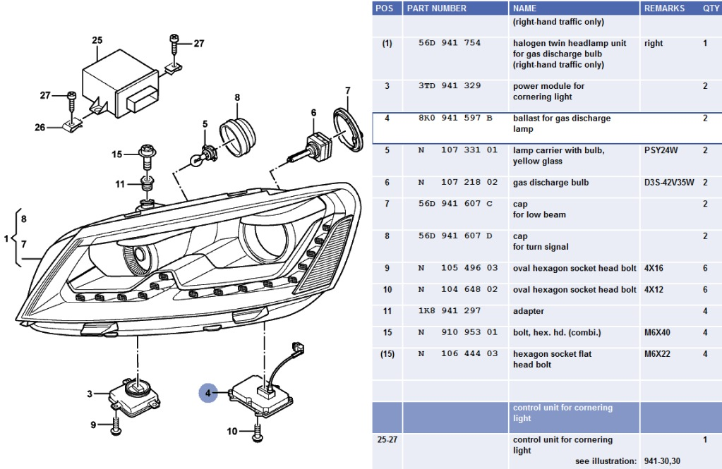 Vwvortex new helix b7 passat bi projector headlight kit in as you can see from the etka diagram these are the same design as the oem 56d941754 asfbconference2016 Image collections