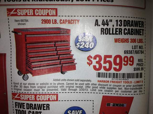 Harbor Freight 13 drawer tool boxes $271.99 [Archive] - Page 7 ...