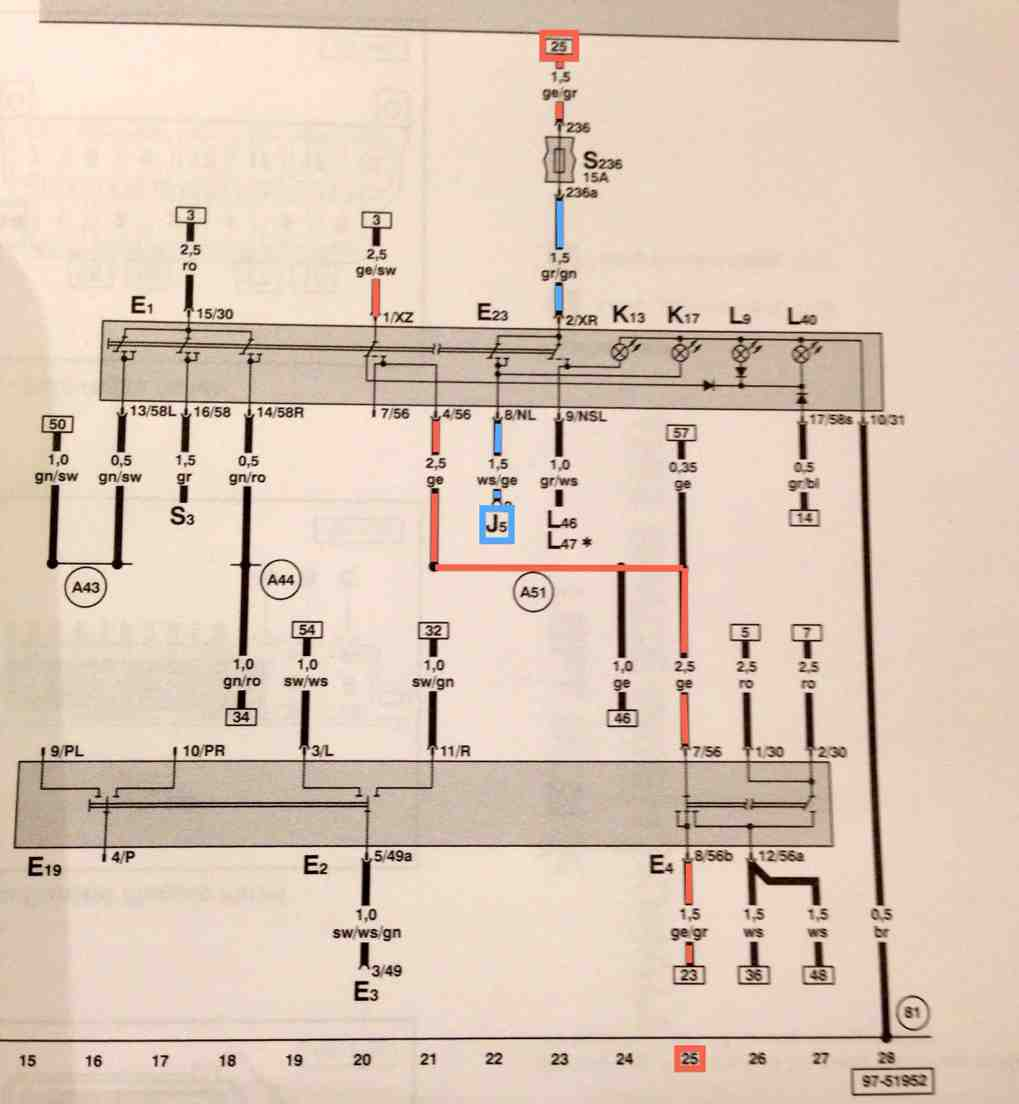 Headlight switch info picking up line 25 again at the top of the page it goes though fuse s236 and then is the input to the fog light part of the switch asfbconference2016 Choice Image