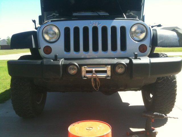 Hidden winch mounted upright on OE bumper - JK-Forum com