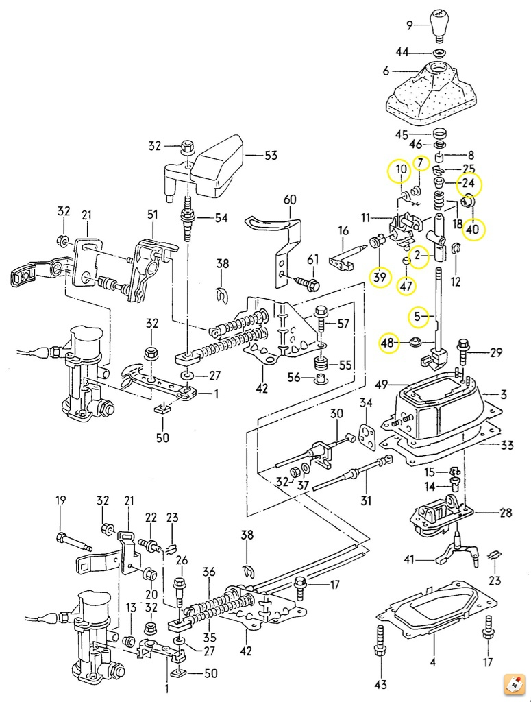 Vwvortex corrado g60 vr6 shifter bushing rebuild parts and corresponding part numbers needed for this project with illustration pooptronica