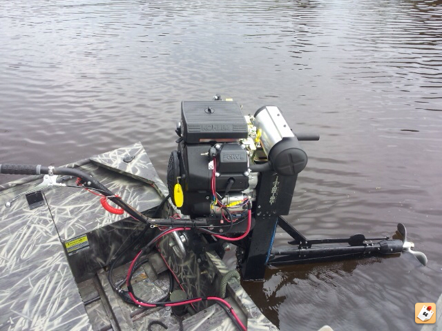Running a Alumacraft 1442 NCS with a 25 HP Orion surface drive. Not the best, but it works.