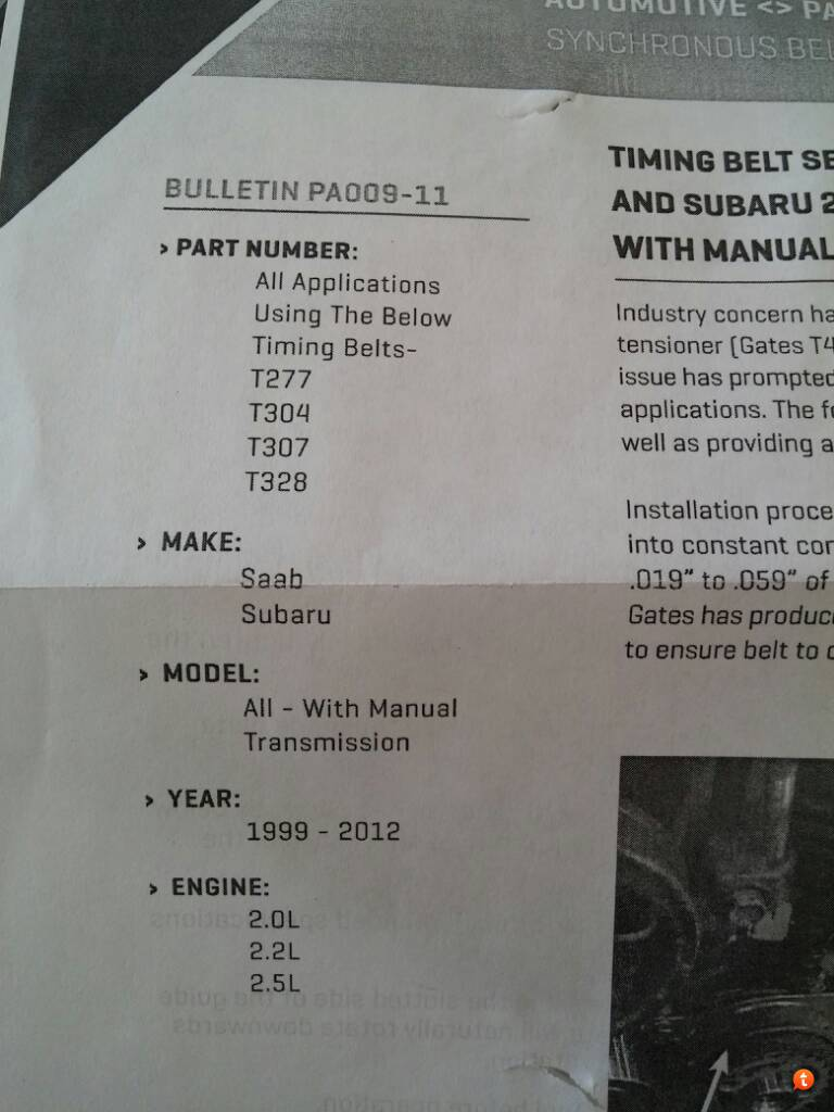 Timing Belt Kit Recomendations - Page 2 - Subaru Legacy Forums