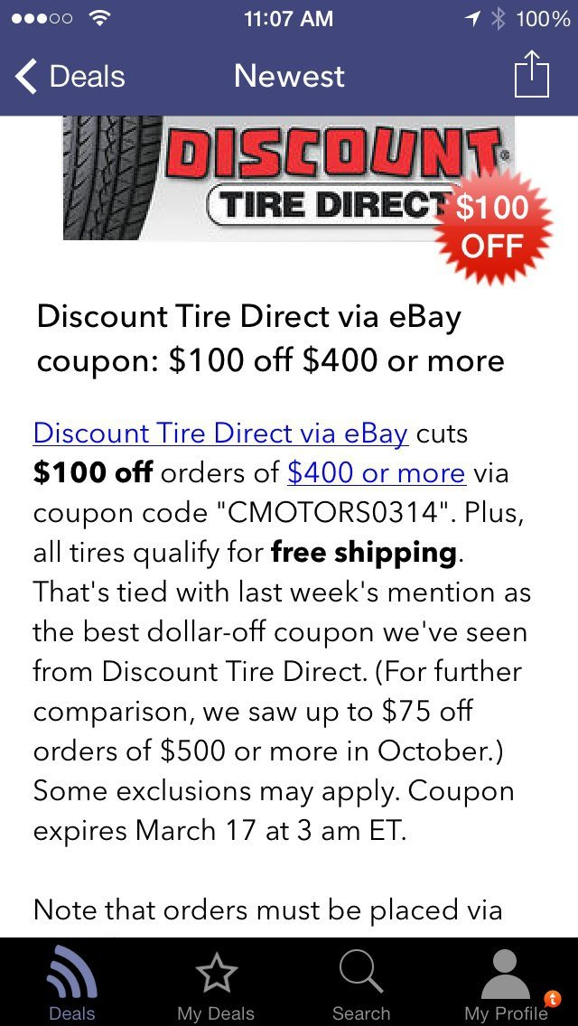 Discount Tire Direct via eBay $100 Off Coupon Code - Toyota