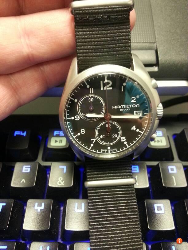 Hamilton Pilot Chrono (Quartz) all documentation and box- 295 00