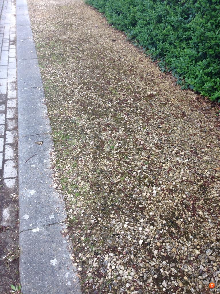 Onkruid tussen grind verwijderen