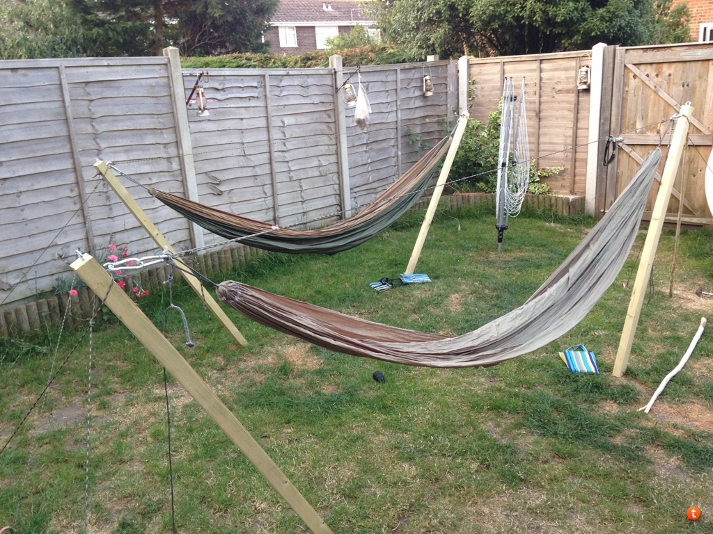 held there by 550 para guys staked into the ground with 4 foot long 1 4   rebar stakes and a 550 para structural ridge line linking the two posts thus going tree less  rh   hammockforums