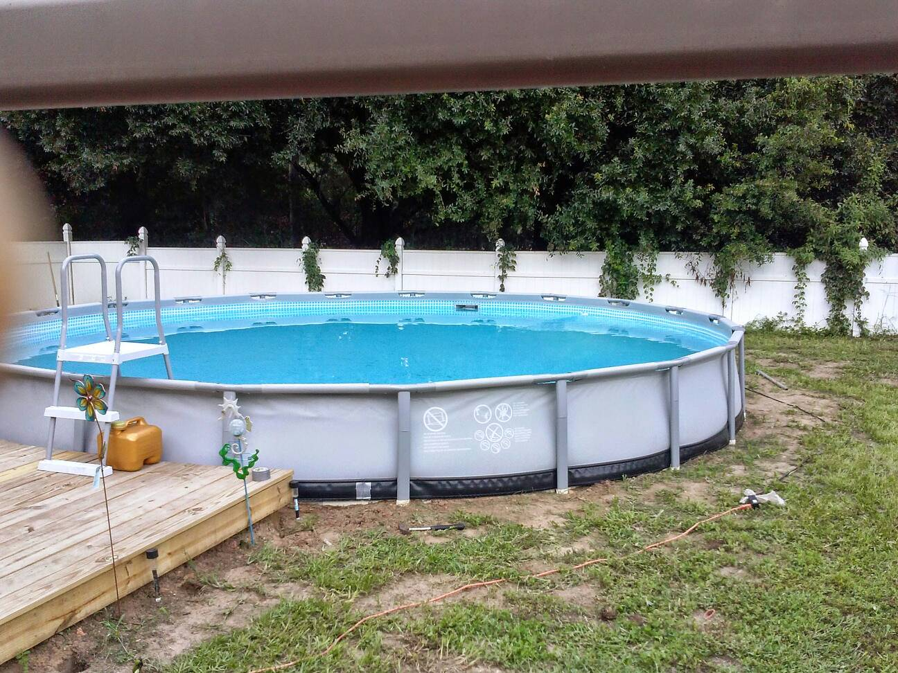 re landscaping around base of intex ultra frame pools
