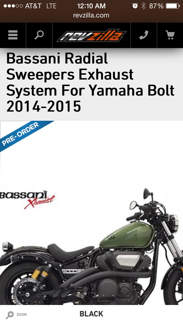 List of compatiable exhaust for the Bolt