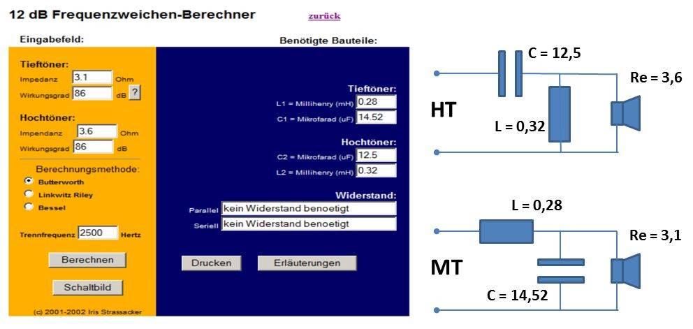 Frequenzweiche berechnen