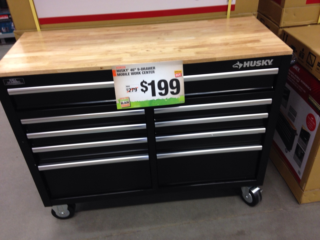 Husky 46 In 9 Drawer Mobile Workbench Chest Of Drawers