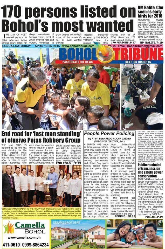 d54461faa6807721860c74c7d613a2ed - The Bohol Tribune April 19, 2015 Edition - Philippine Business News