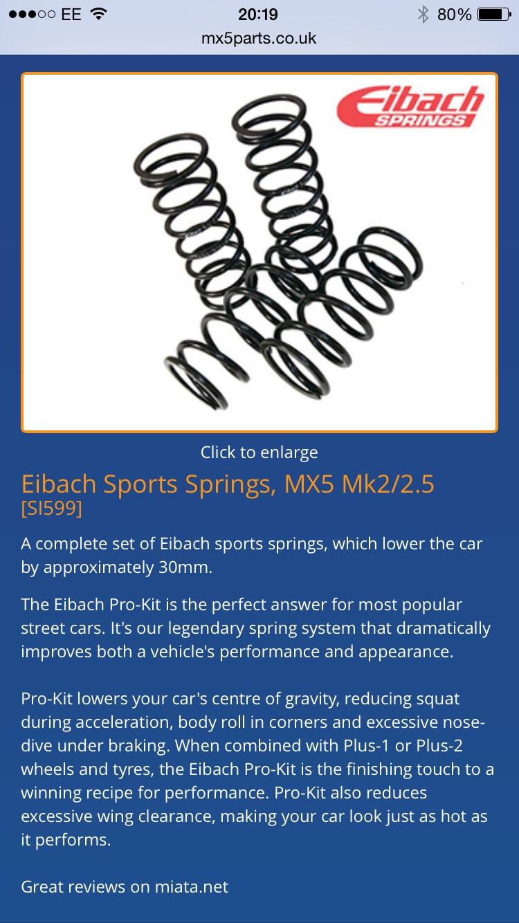 Eibach Sports Springs, Mx5 Mk2 5 - Wheels, Tyres, Suspension