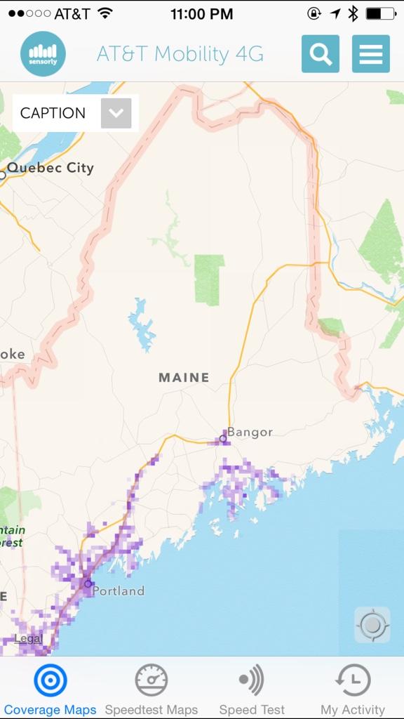 Horibble ATT Coverage In Maine - Verizon network map