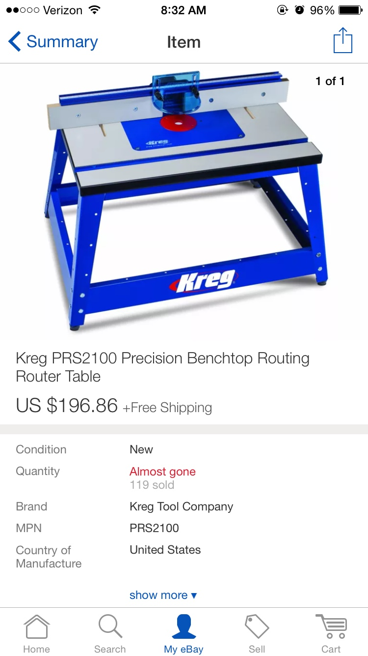 Router table suggestions woodworking talk woodworkers forum because i dont have the time right now to build and i didnt want to force something that needs to be accurate settled on this kreg one from ebay keyboard keysfo Choice Image