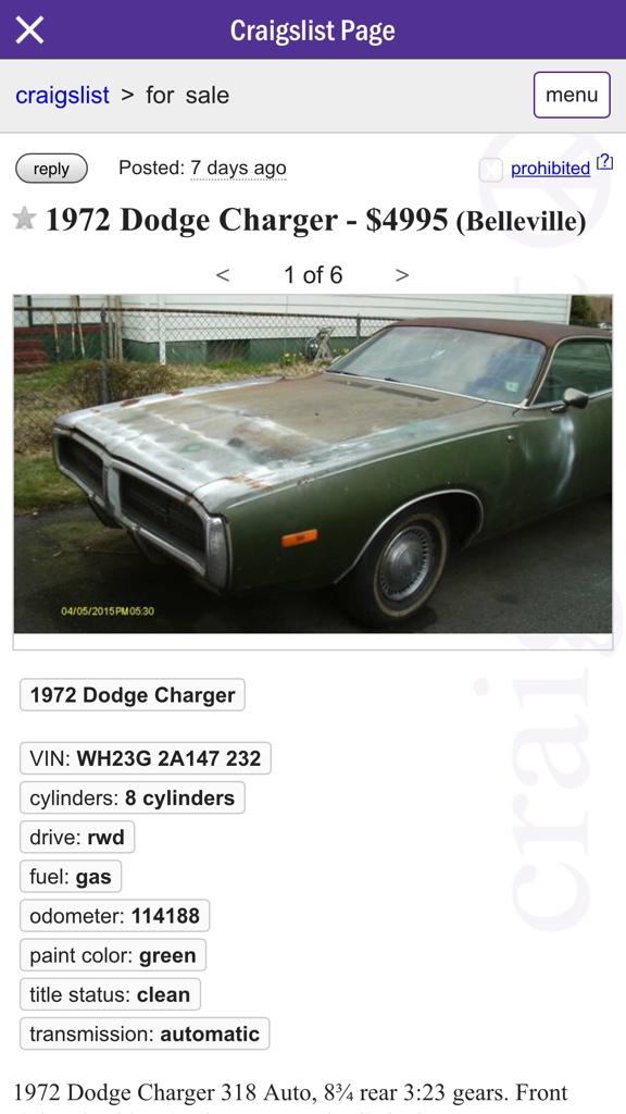 Nnj Craigslist Ad Not My Car For B Bodies Only Classic Mopar Forum