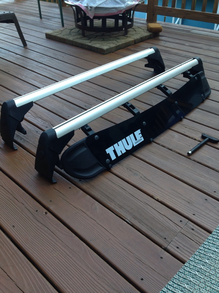 OEM Base Bars With Thule Fairing Custom Mounted Under The Bar. Good  Condition, Some Dings And Scratches From Attachments/loads Over The Years.