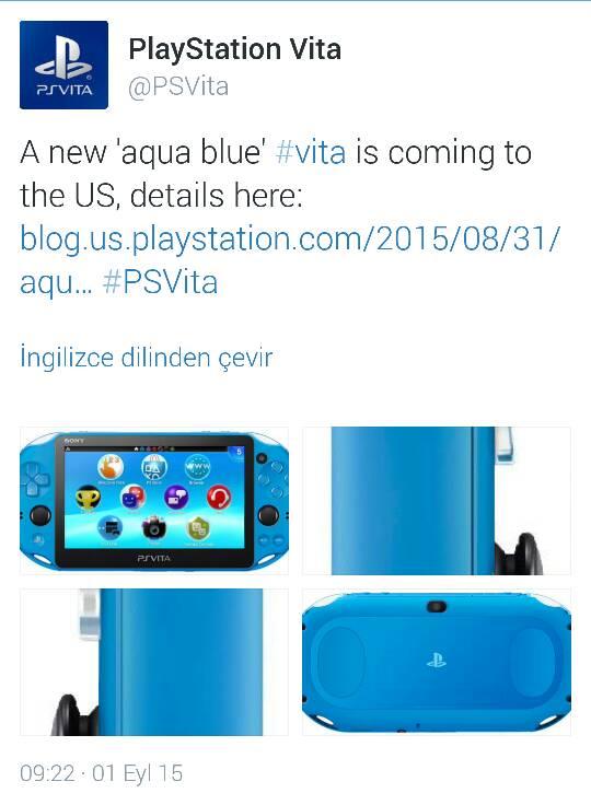 PS Vita Aqua Mavi Rengi Geliyor!