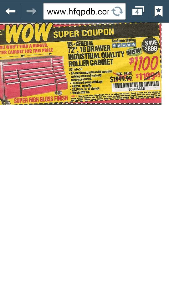 do they ever have coupons for the 72in harbor freight tool box - the ...
