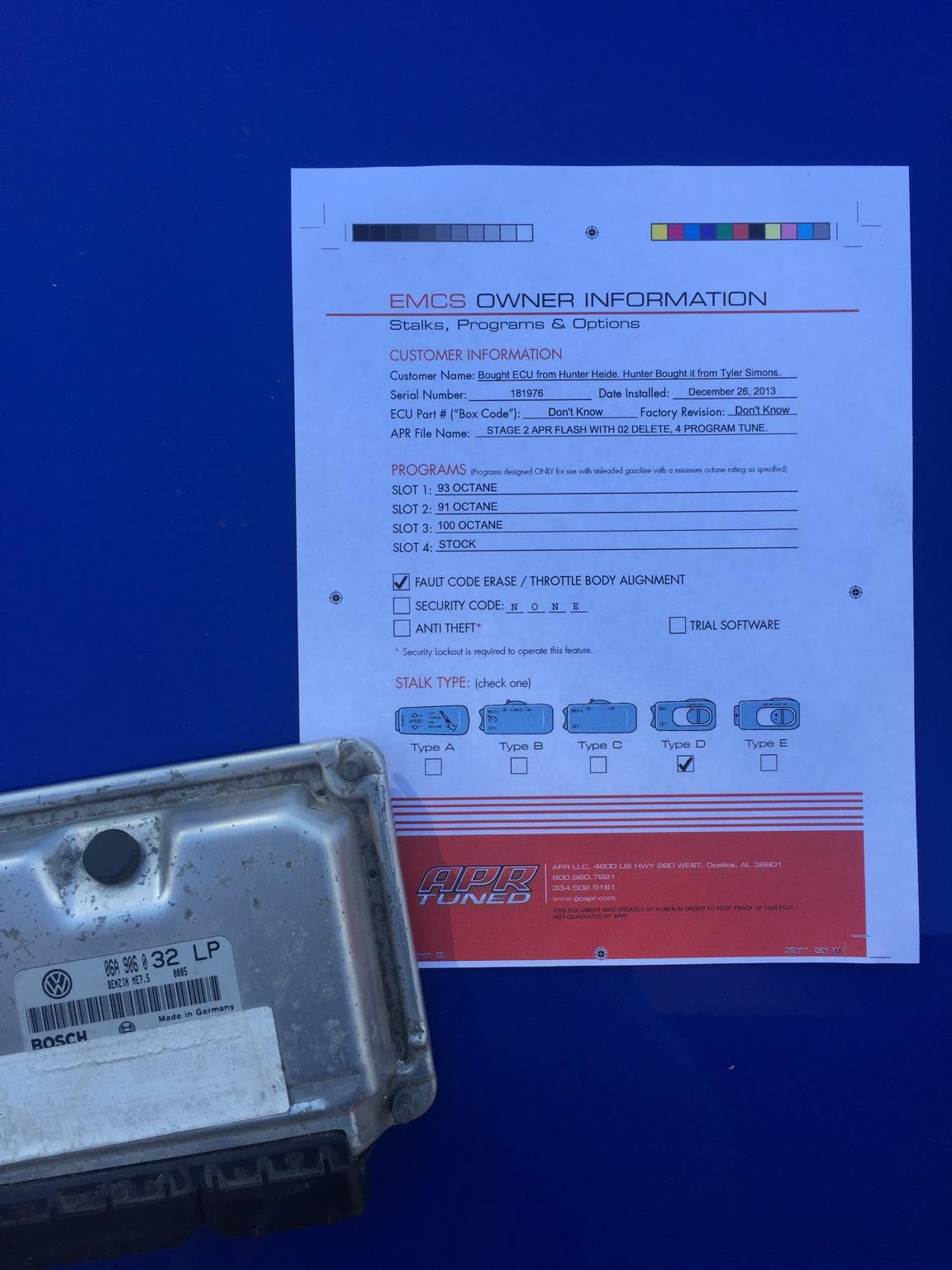 VWVortex com - APR Stage 2 ECU 4 Selectable Tunes & Fault