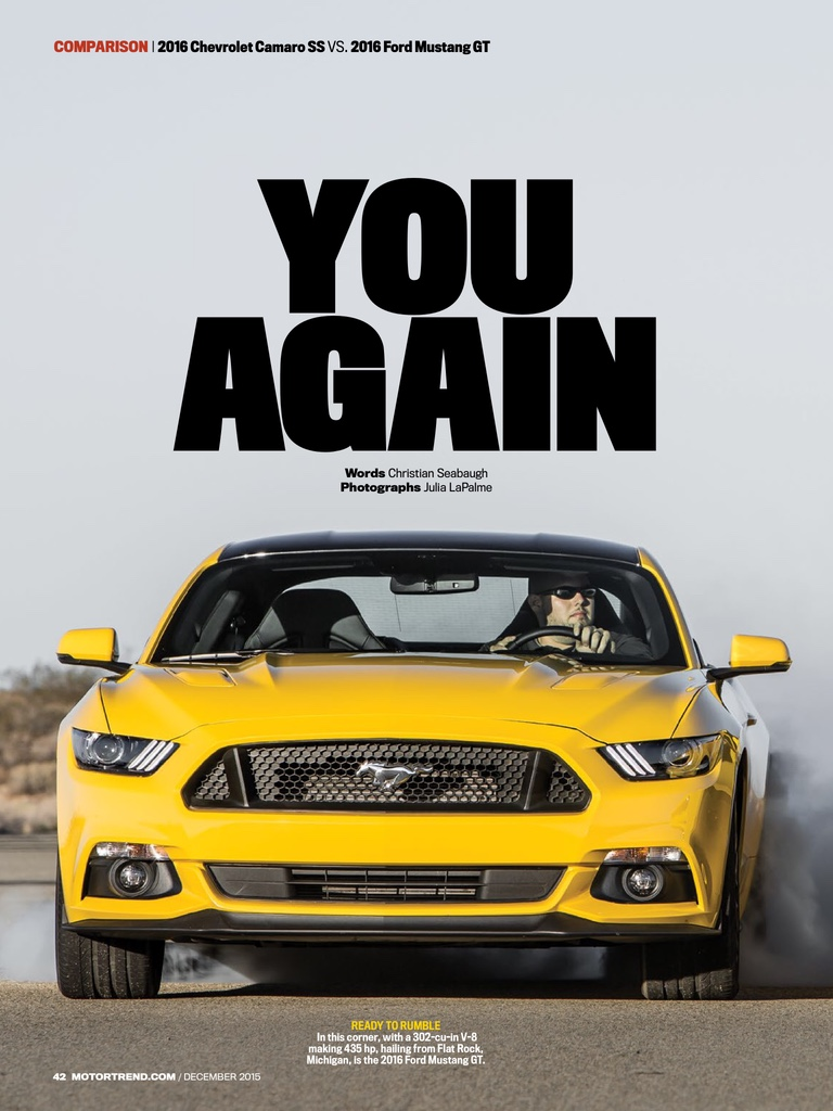 Motortrend 2016 Mustang GT vs 2016 Camaro SS  SVTPerformancecom
