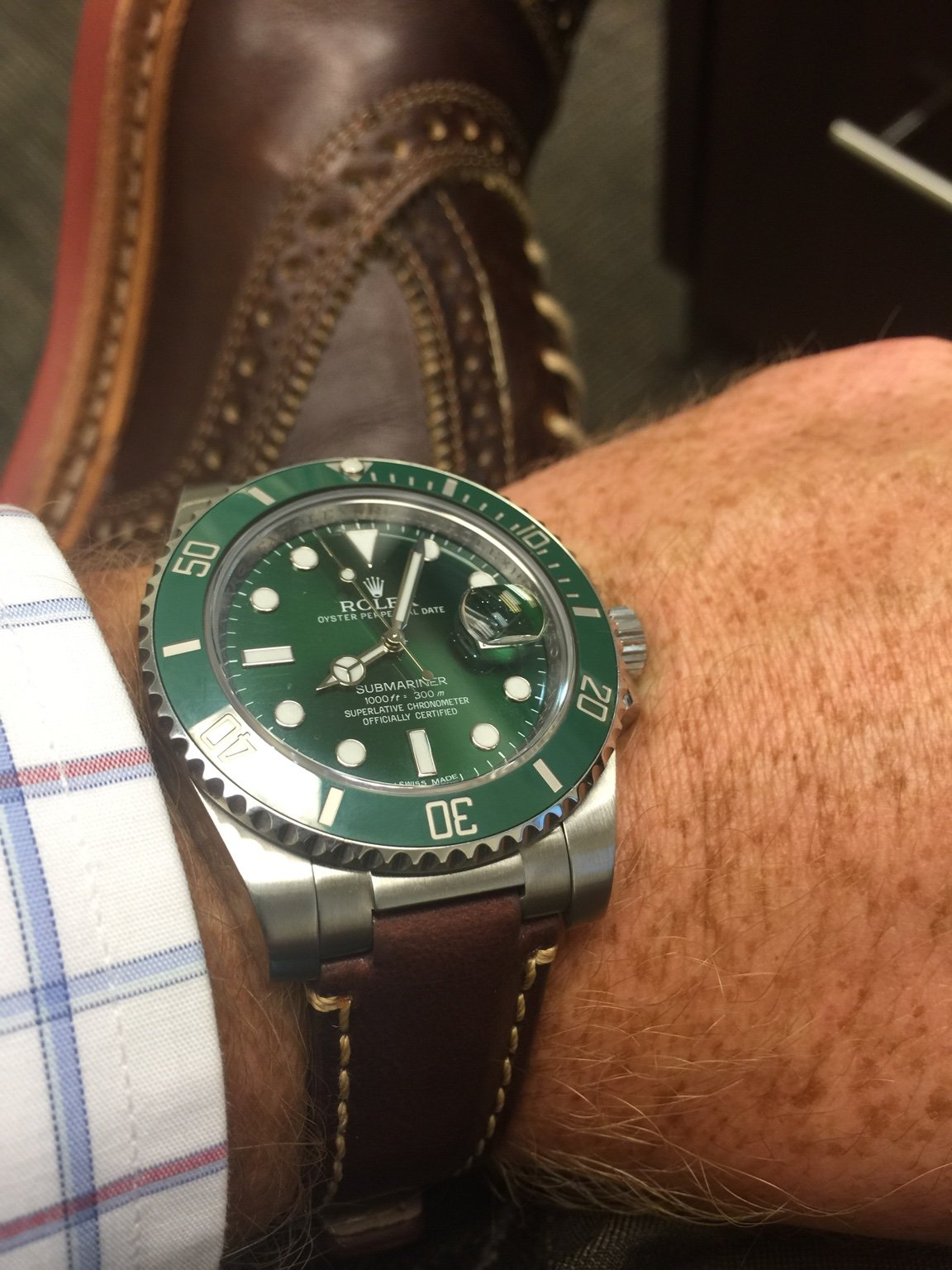 Everestbands review ! ! Hulk Rolex with brown leather