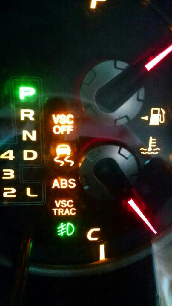 VSC on/off, VSC Trac, Traction Control AND ABS Lights on ... on