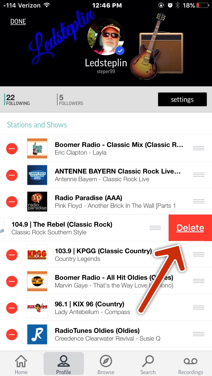 How can i delete some of my radio channels from my tune in radio then tap delete ccuart Choice Image
