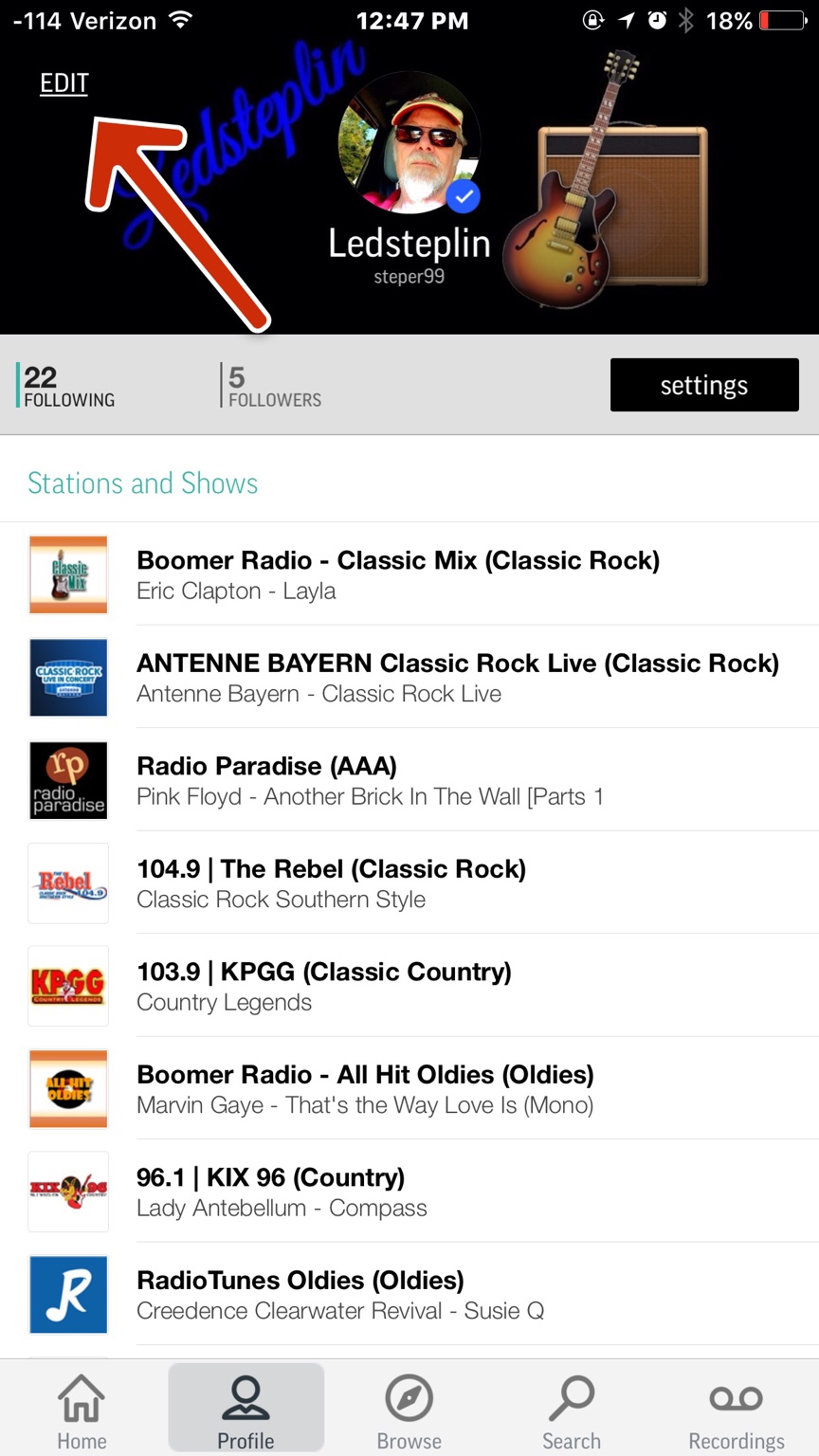 How can i delete some of my radio channels from my Tune In