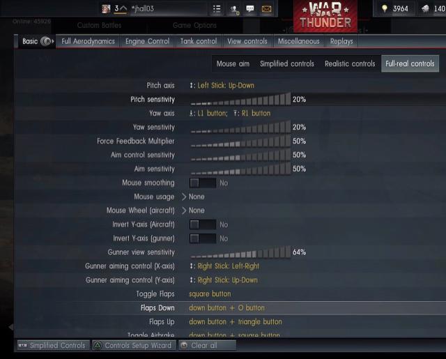 War Thunder thread / PS4 DS4 starter control settings