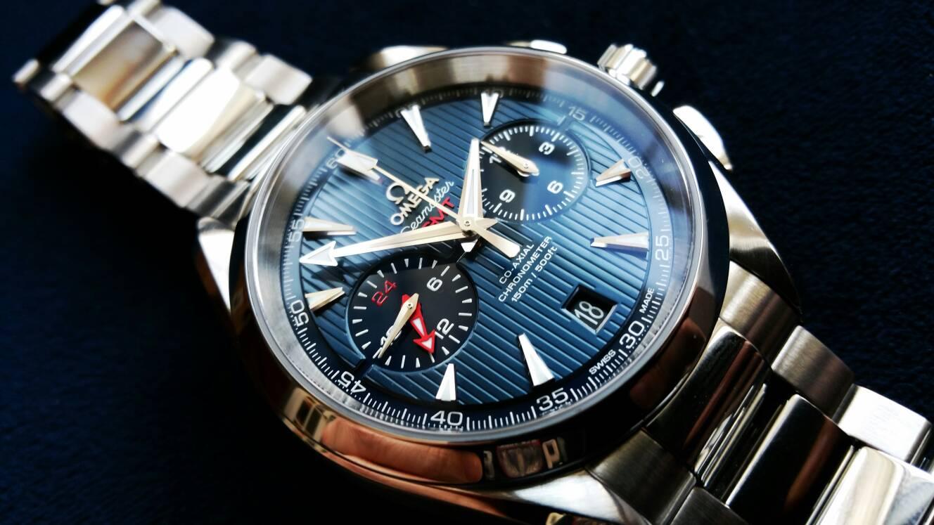 Fs Omega Aqua Terra Gmt Chronograph 9605 Stunning Blue