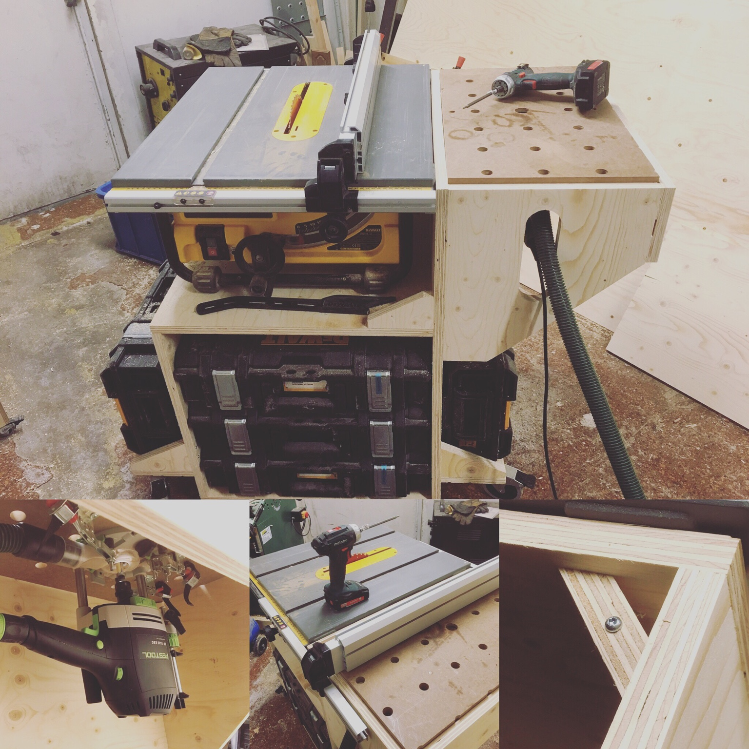 Portable table saw stand with router attachment not a pretty project but very sturdy with a wide wheel base and router wing the ts fence can be used for the router table will be very useful greentooth Choice Image