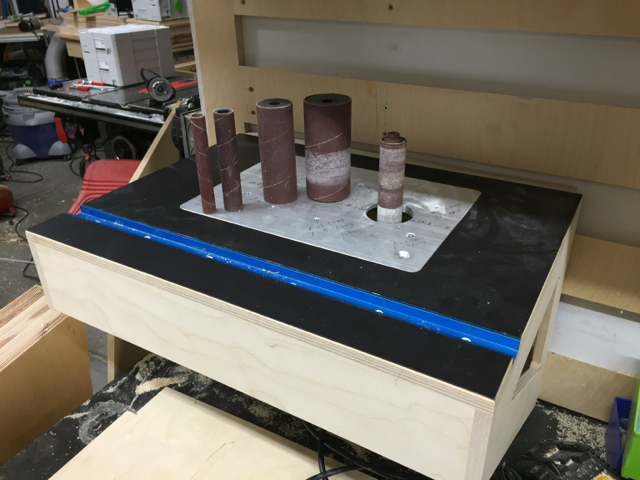 Router table adventurepic heavy i havent decided yet if i need to make zero clearance inserts for the sander yet the smaller two still work ok but with littler pieces it may be difficult greentooth Gallery