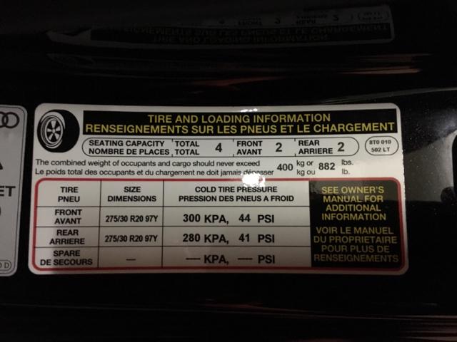 Audi Tyre Pressure Sticker Satu Sticker