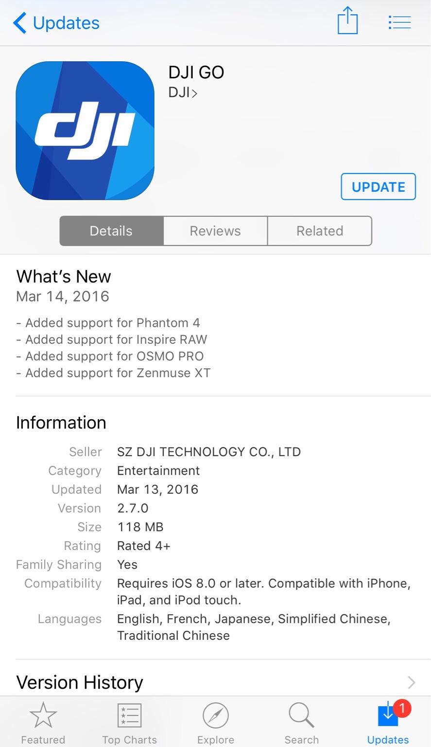 DJI Go app for iOS updated for Phantom 4 | DJI Phantom Drone Forum