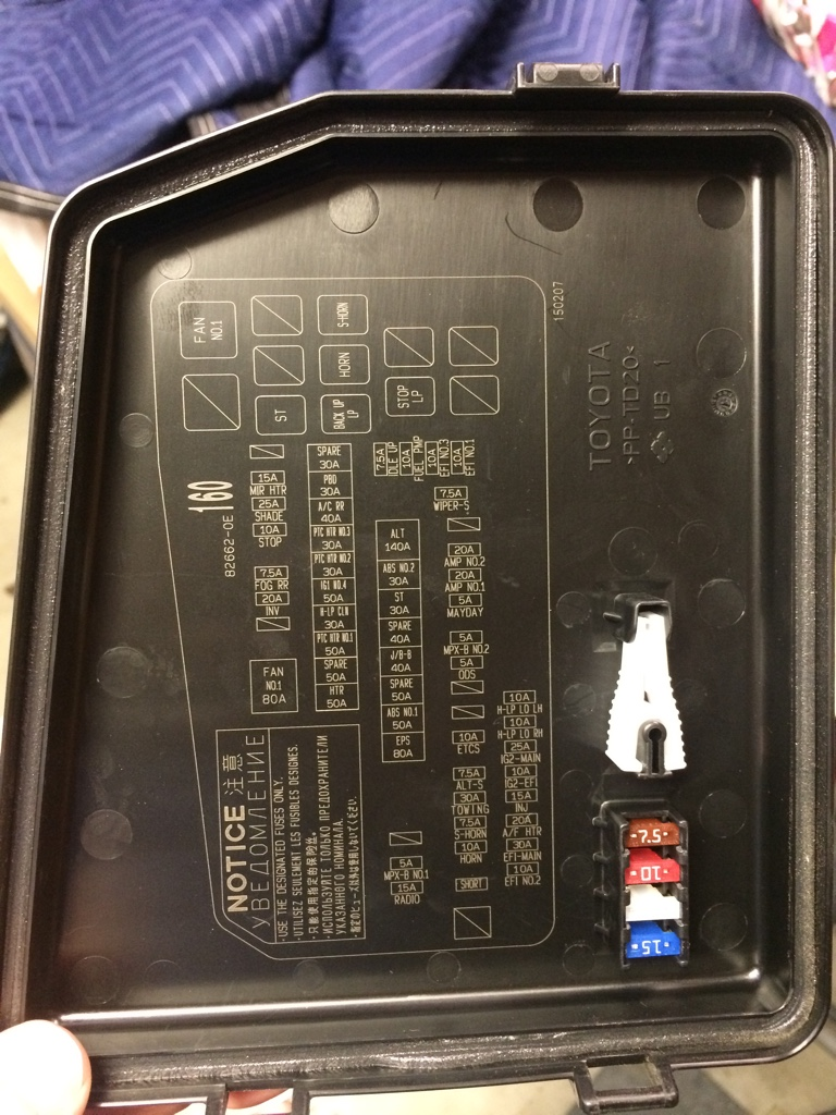 AC power outlet fuse on 2016 HL Toyota Nation Forum