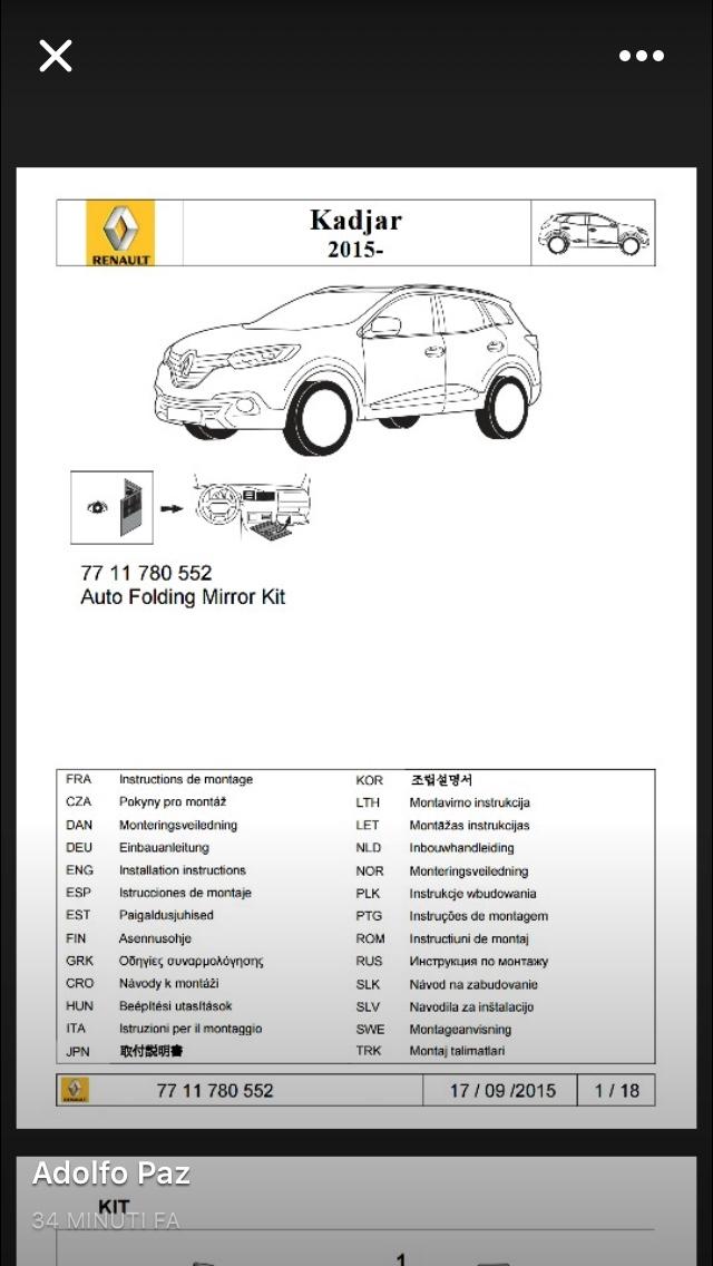 Chiusura all 39 uscita automatica dei retrovisori e vetri pagina 2 kadjar forum italia - Modulo chiusura automatica specchi retrovisori ...