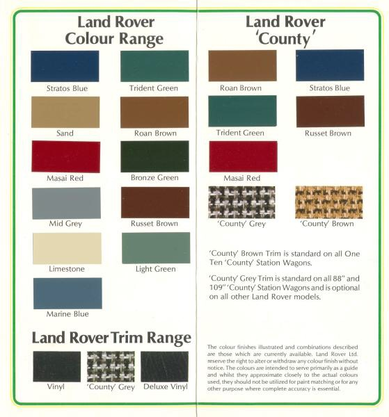 Landrover  Greens Paint Colours