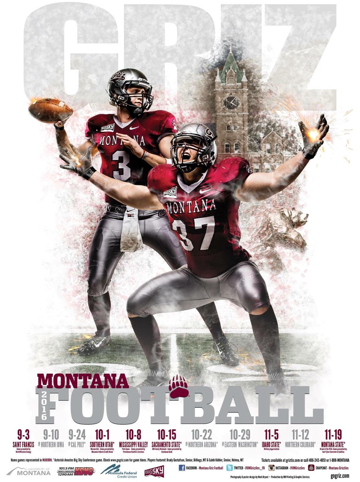 2016 Poster Montana Grizzlies Griz Athletics
