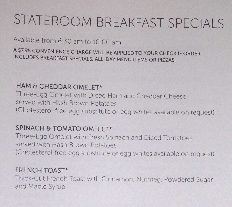 Complimentary Room Service Menu ? - Cruise Critic Message Board Forums