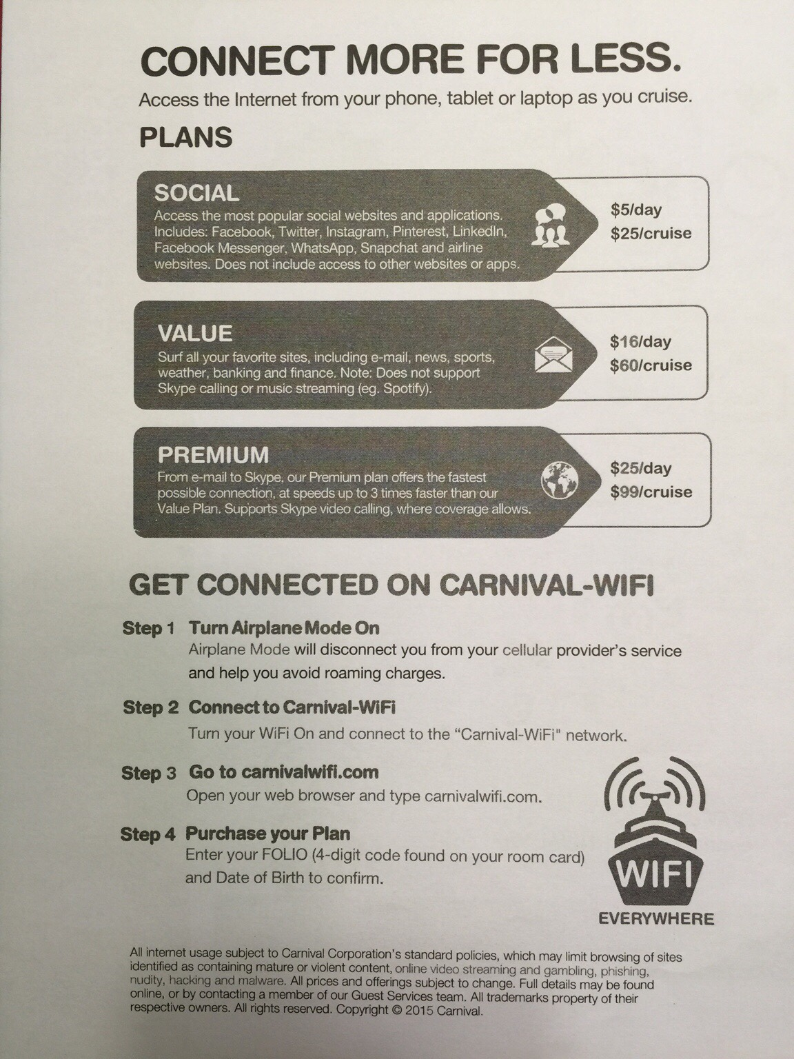 Carnival Cruise Internet >> Internet Packages Carnival Cruise Lines Cruise Critic