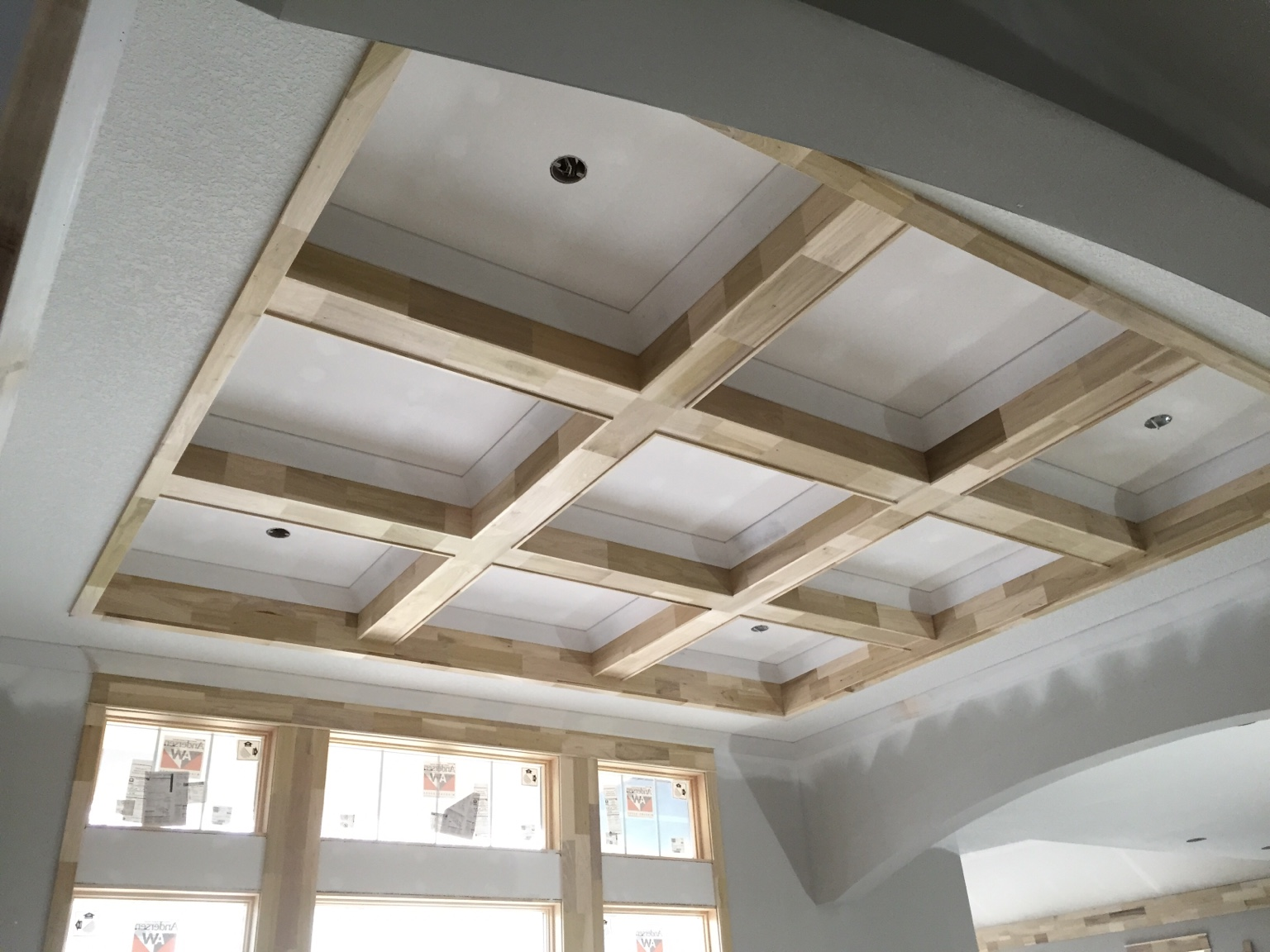 Coffered ceiling and cathedral with lap and beams for Cathedral ceiling beams