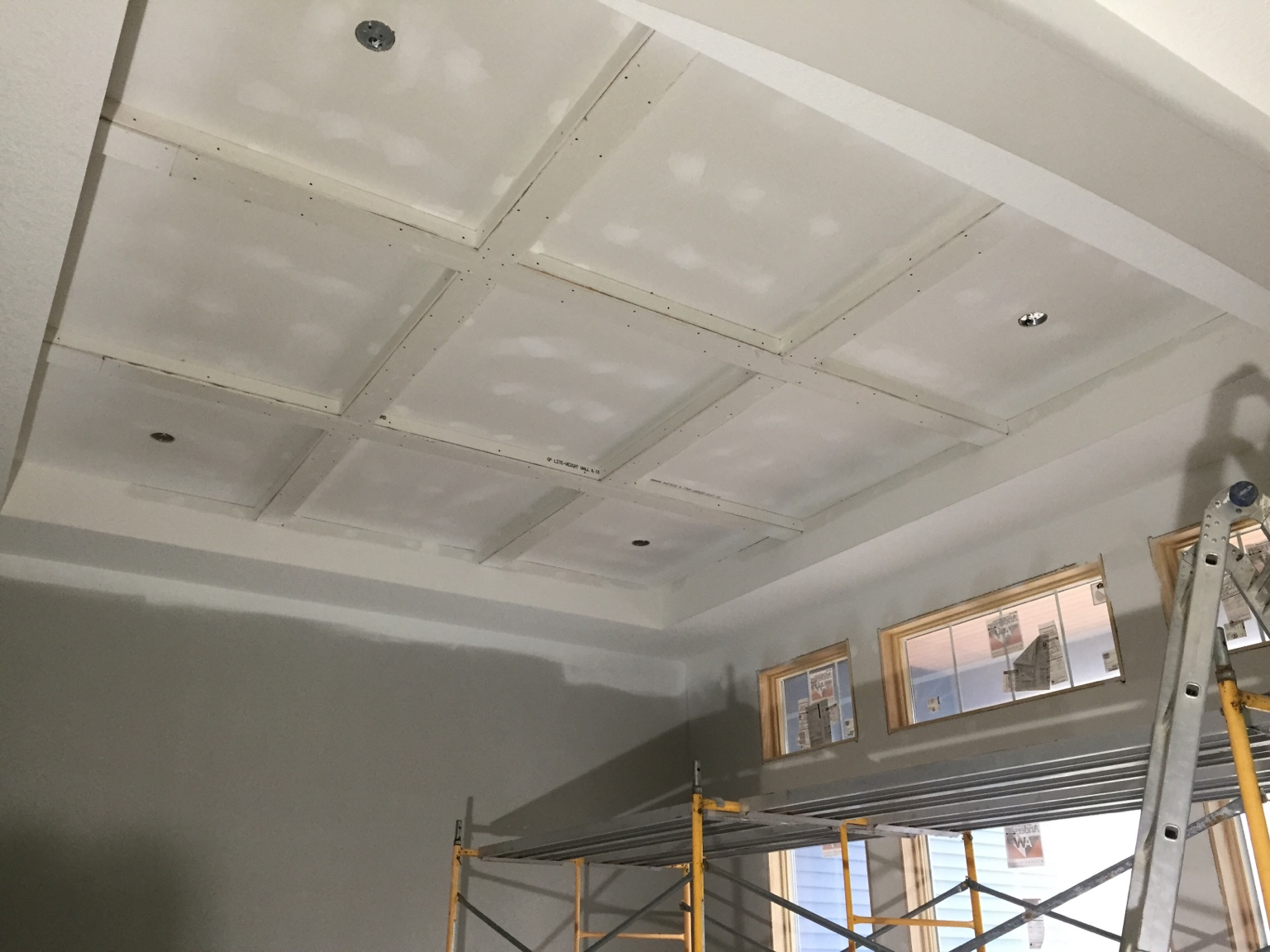 Coffered ceiling and cathedral with lap and beams for Half vaulted ceiling with beams