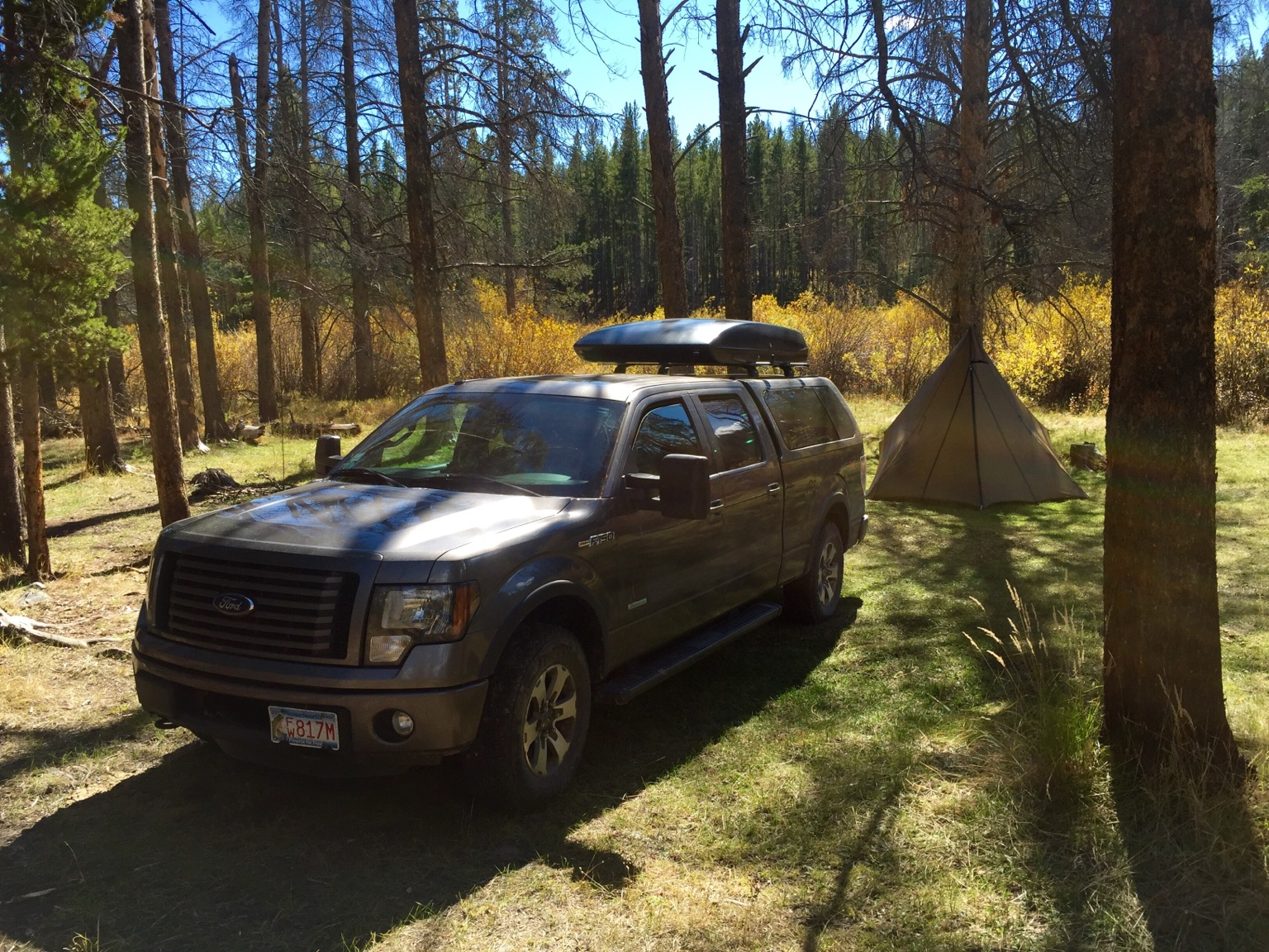 I use a packasport during hunting season for more space. & Roof Rack on Camper Shell (Canopy)