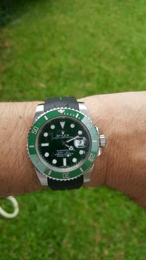 Rubber B Black Green For Rolex