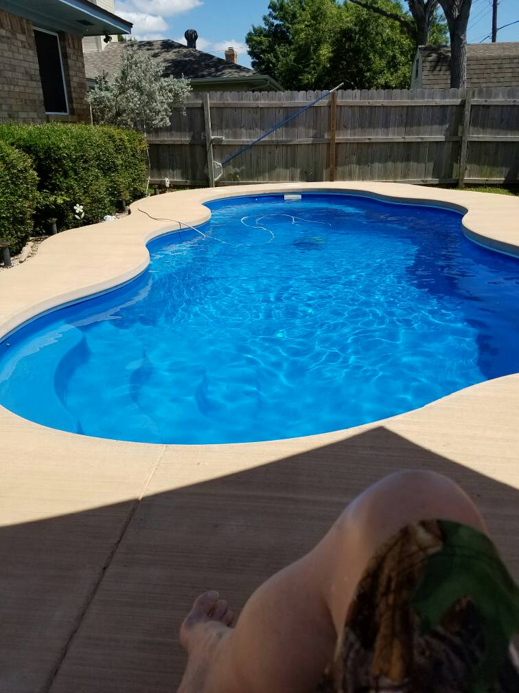 Concrete pool coping bricks and a fiberglass pool bad for Concrete pool