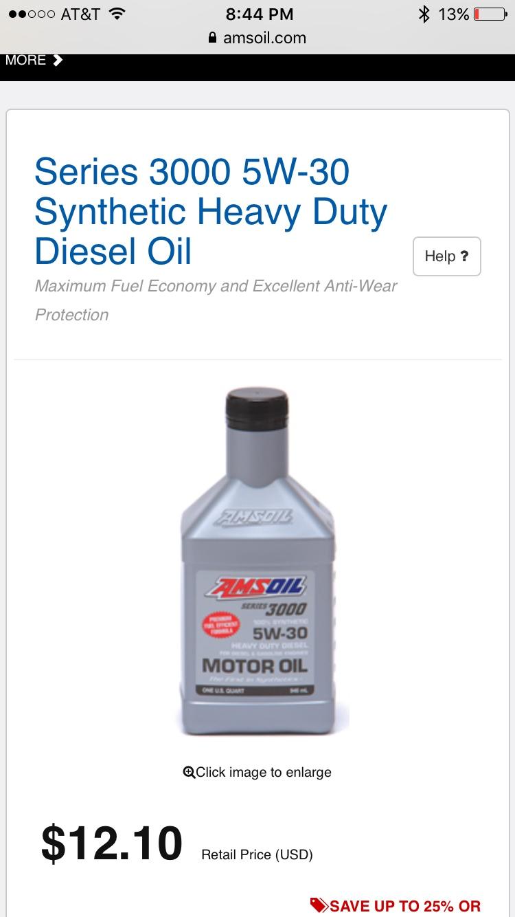 Fs amsoil 5w30 3000 series synthetic heavy duty diesel oil for Amsoil 5w30 signature series 100 synthetic motor oil