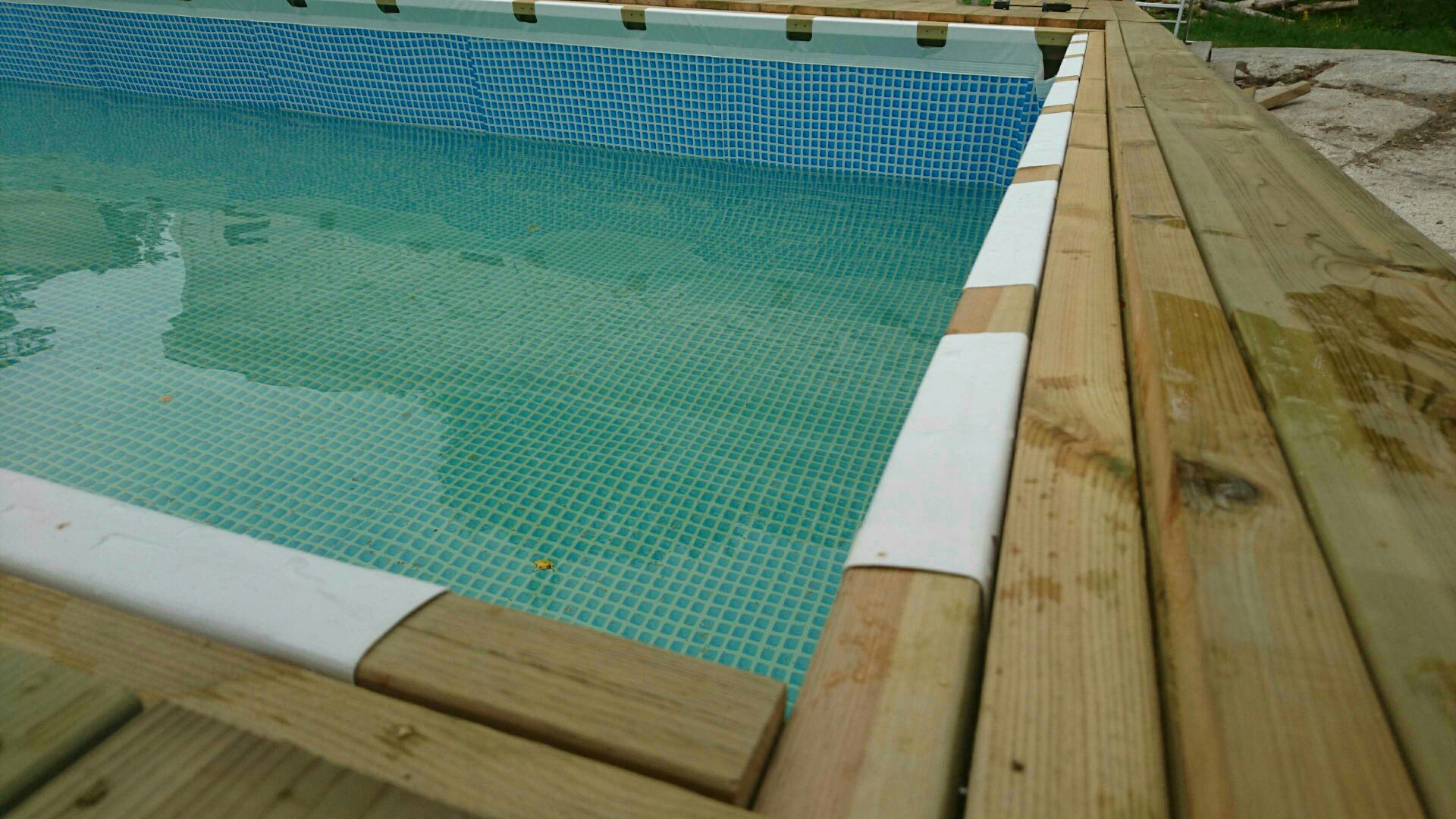 Hanging a rectangular intex ultra frame pool directly from - Ultra frame rectangular swimming pool ...