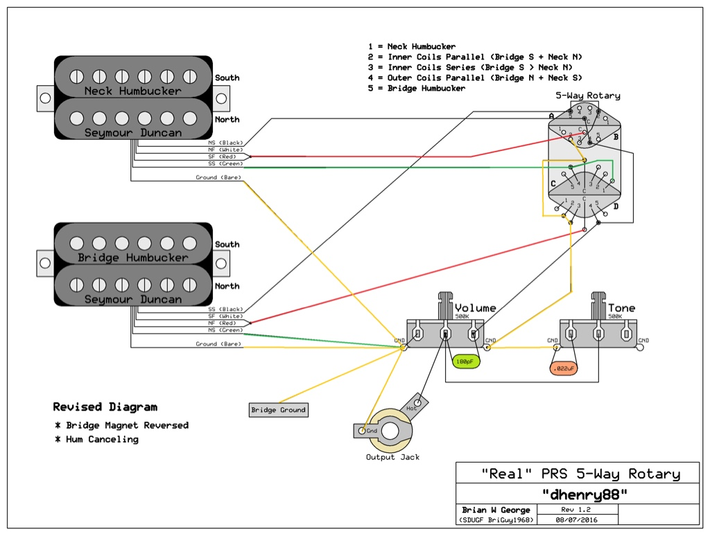 prs 5 way rotary switch wiring diagram reverse polarity